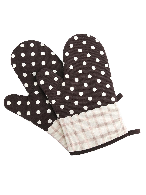 Beige Kariert Gestreift Camilife 2 St/ücke Verdickte Hitzebest/ändige Ofenhandschuhe Topflappen Mikrowellenofen Handschuhe Backhandschuhe