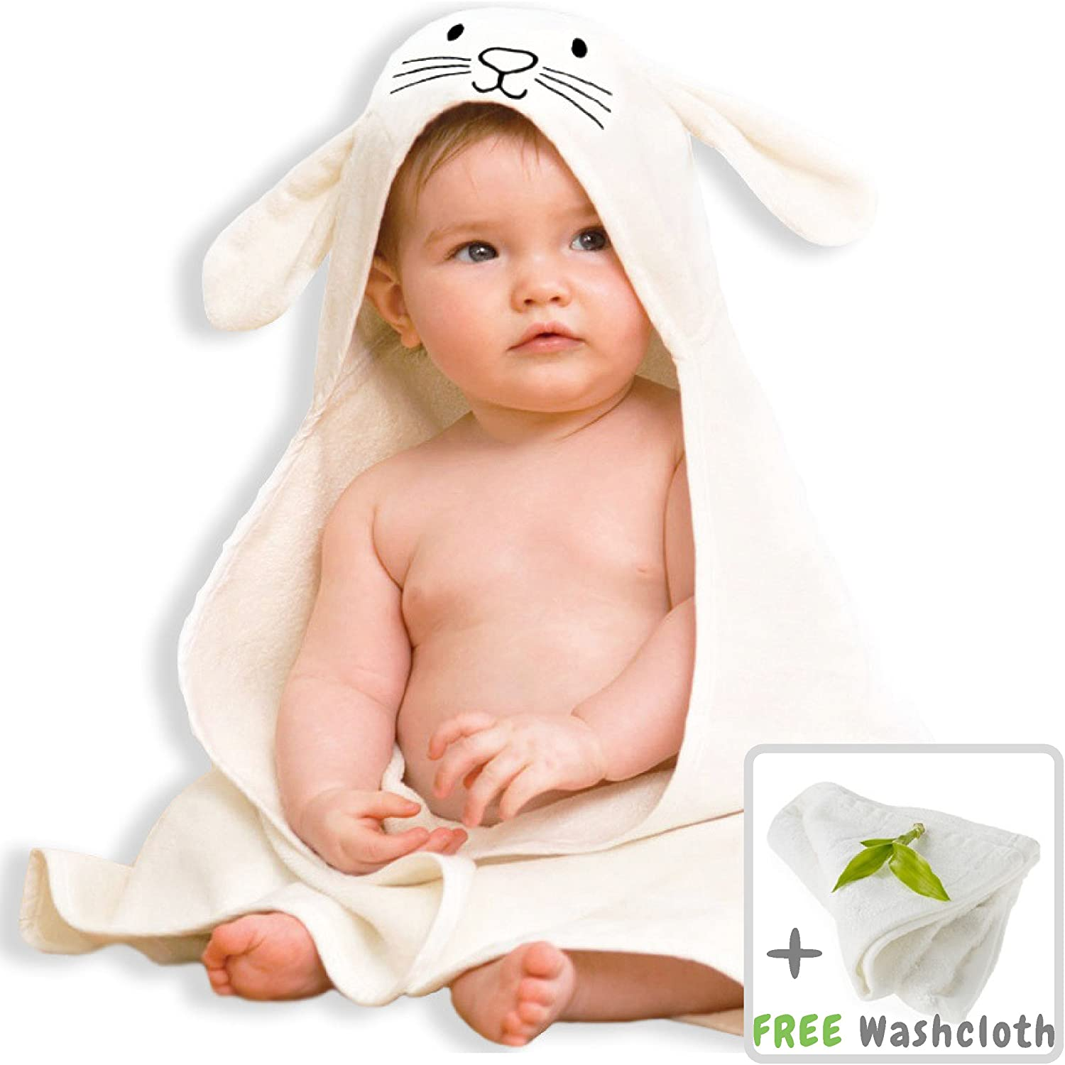 Organic Bamboo Baby Hooded Towel with Bonus Washcloth | Ultra Soft and Super Absorbent Toddler Hooded Bath Towel with Cute Bunny Face Design | Great Infant/Newborn Shower Present for Boy or Girl Lucylla