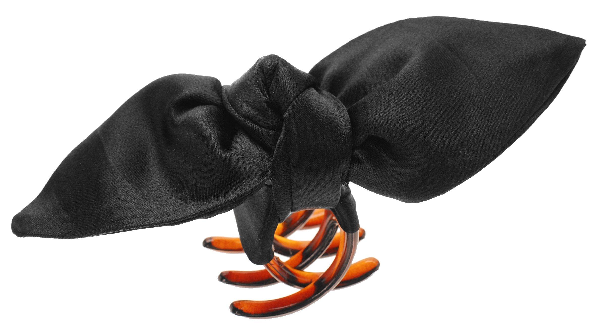 L. Erickson USA Knotted Sash Jaw - Silk Charmeuse Black