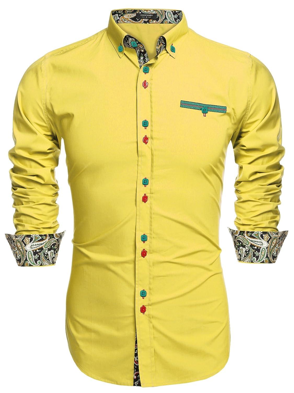 TALLA 3XL. Coofandy Camisa Casual Manga Larga para Hombre de Moda