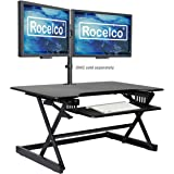 """Rocelco 40"""" Large Height Adjustable Standing Desk Converter, Quick Sit Standup Dual Monitor Riser, Gas Spring Assist Computer"""