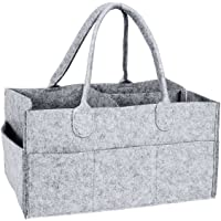 YiCoo Foldable Baby Diaper Caddy Organiser, Portable Nursery Storage Basket Bin with Changeable Compartments(Grey)