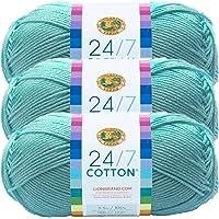 (3 Pack) Lion Brand Yarn 761-102A 24-7 Cotton Yarn, Aqua