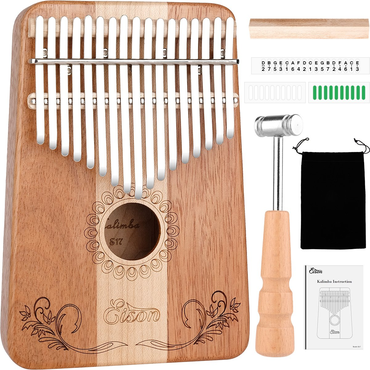 Kalimba,Eison Kalimba Thumb Piano Finger Piano 17 keys with Key Locking System with Instruction and Tune Hammer, Solid Wood Mahogany & Maple Body- Best Christmas Gift for Music Fans Kids Adults,E-17 by Eison