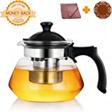 OGKitchen Glass Teapot w/ Infuser – 34oz Stovetop Safe Borosilicate Tea Pot – Plastic Handle & Stainless Filter for Blooming & Loose Leaf Tea – With Microfiber Cloth & Coaster– Maker Brewer & Steeper