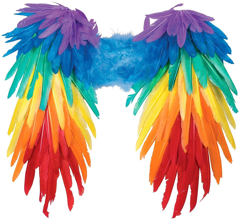 cec9725dd Amazon.com: Forum Novelties Women's Rainbow Feather Wings, Multi, One Size:  Clothing