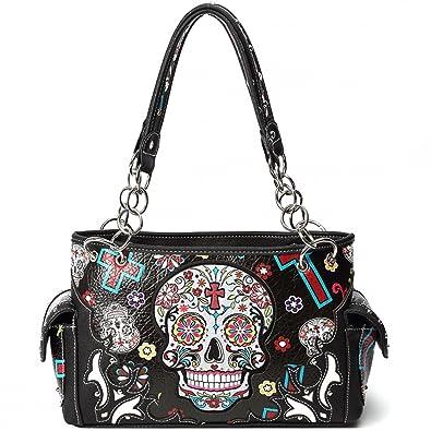 6eef472bdd6c Cowgirl Trendy Western Concealed Carry Cross Sugar Skull Art Purse Handbag  Messenger Shoulder Bag Black