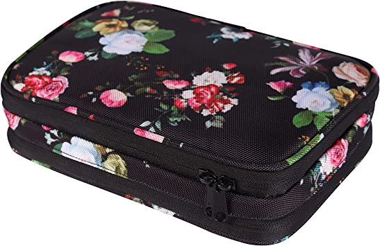 Girl Portable Jewelry Case Black-Flower Travel Jewelry Organizer Case,Storage Bag Holder for Earrings,Necklace,Rings,Watch