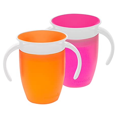 Munchkin Miracle 360 Trainer Cup with handles, Pink/Orange, 7 Ounce, 2 Count