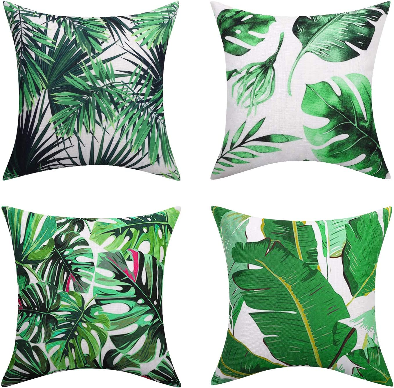Animal Fantasy Set of 4 Soft Breathable Wrinkle-resistant Pillowcase with Colorful Printed Pattern Throw Pillow Case Sham for Sofa Bed Seat 18x18 Lewondr Linen Cushion Cover 45x45cm