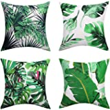 """Lewondr Linen Throw Pillow Case, Set of 4 Soft Breathable Wrinkle-resistant Pillowcase with Colorful Printed Pattern Decorative Cushion Cover Sham for Sofa Bed Seat 18""""x18""""(45x45cm), Green Purity"""