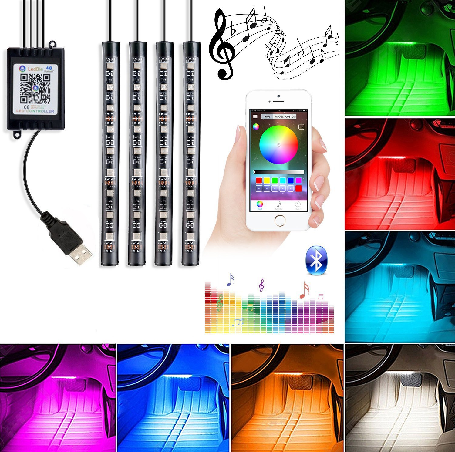 Car Interior Lights, 4Piece DC5V 36LEDs USB Auto LED Atmosphere Decor Strip Lights Multi-color Music RGB Under Dash Lighting Kit, With Sound-activated, APP Control