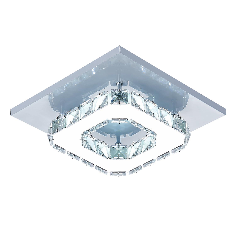 Egomall Plafonnier en cristal Lampe de plafond Acier Inoxydable