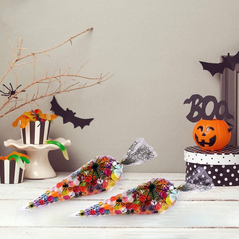 MIAHART 100 Counts Spider Patterned Halloween Cone Bolsas de celof/án Trate Las Bolsas de Dulces con 100 Piezas de Corbatas para Suministros de Fiesta de Halloween