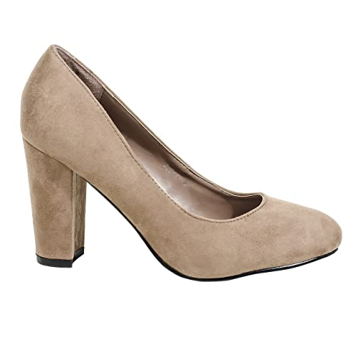 8eb44aae4bee Herstyle Women s Manmade Jypsy 4-inch Sueded Pump with Thick Heel Khaki 6
