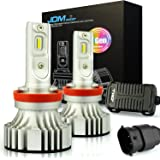 JDM ASTAR Newest Version No Dark Spot Design 7th Generation 8000 Lumens Extremely Bright H11 H9 H8 LED Headlight Bulbs Conversion Kit, Xenon White