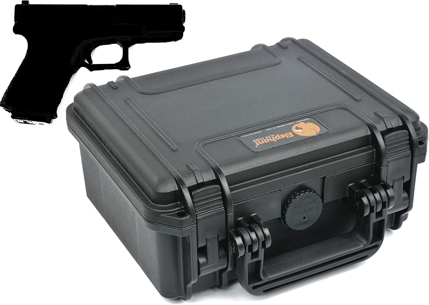 Elephant Elite EL0904G Handgun Pistol and Revolver Hard Case for Small to Medium Gun and Magazine Great for The Shooting Range, Safe Storage or Travel Fits Glock, Sig Sauer Smith & Wesson M&p Under 8