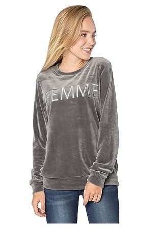 6f12c09a0b0a Rock Angel Damen Nicki-Pullover Femme   Sweatshirt   Sweat-Pullover mit Print  in Grau   Rosé  Amazon.de  Bekleidung