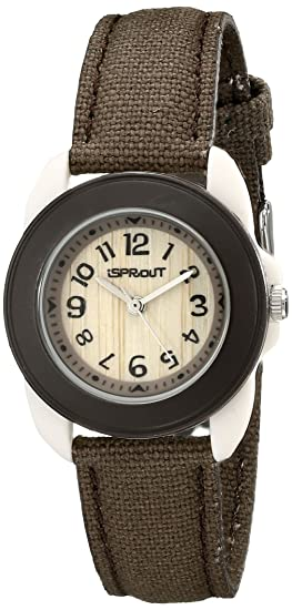 Sprout Women's Corn Resin and Brown Organic Cotton Strap Watch