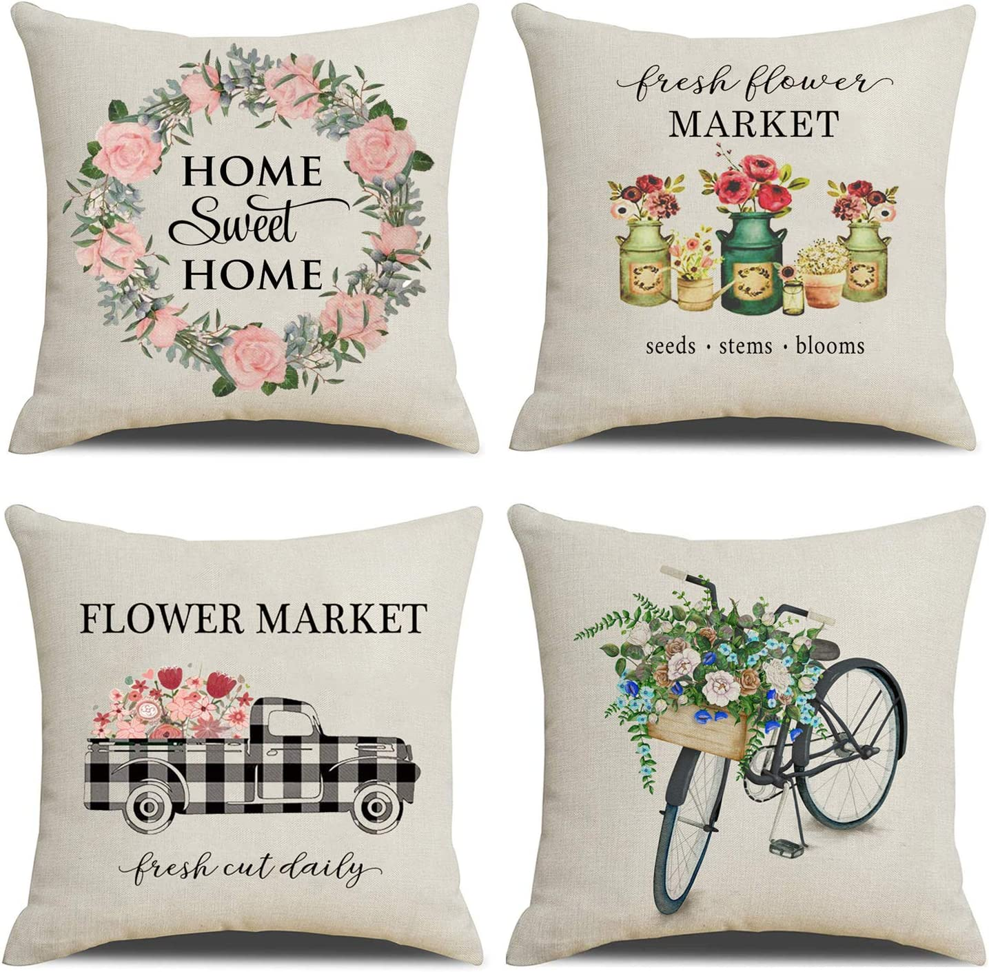 Amazon Com Nydecor Farmhouse Pillow Covers Floral Throw Pillow Cases Cotton Linen Buffalo Check Truck Bicycle Flower Market Cushion Cover For Couch Sofa 18x18 Set Of 4 Home Kitchen