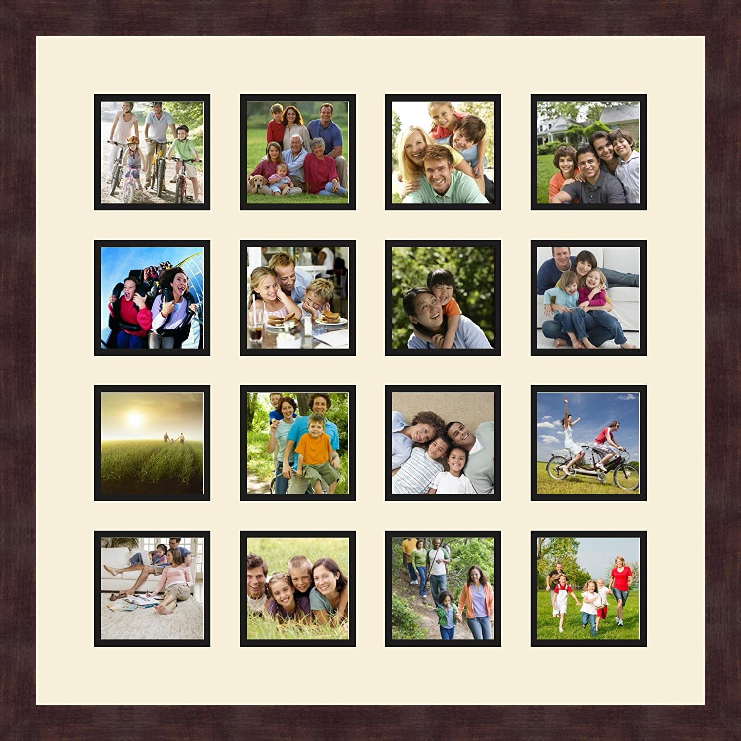 Art to Frames Double-Multimat-458-783//89-FRBW26061 Collage Frame Photo Mat Double Mat with 16-4x4 Openings and Espresso Frame