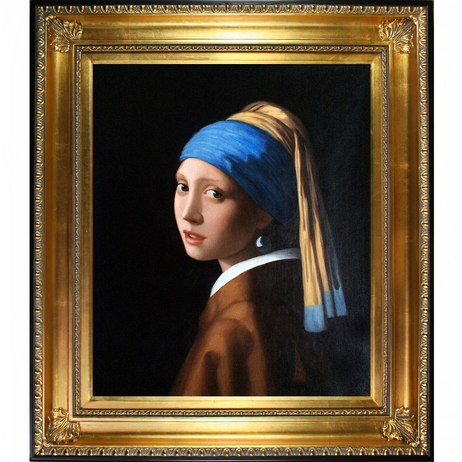 BR &Nameinternal Girl with Pearl Earring by Johannes Vermeer, Framed H & Painted Oil with Regency Gold Frame