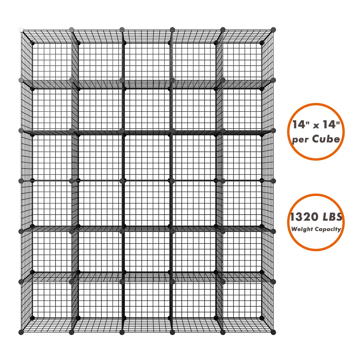 KOUSI Large 14''x14'' Storage Cubes Wire Grid Modular Metal Cubbies Organizer Bookcases and Book Shelves Origami Multifunction Shelving Unit, Capacious Customizable supports up to 44 lbs,Black, 30 Cubes by KOUSI