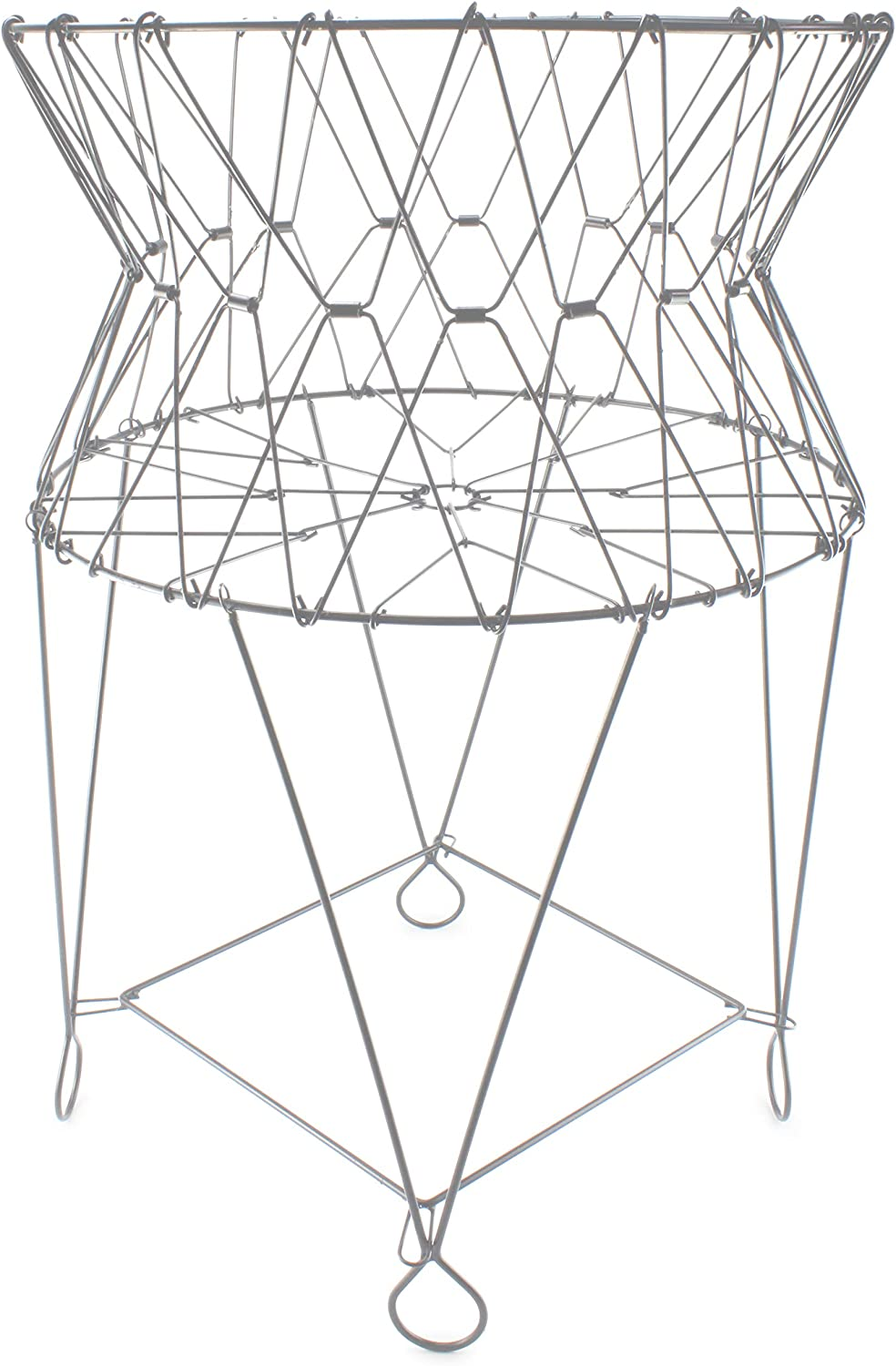 AuldHome Vintage Laundry Basket (Silver Gray), French Country Wire Folding Laundry Hamper