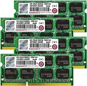 Transcend 32GB (8GB x 4 Kit) JetMemory DDR3L- 1600 SO-DIMM 2Rx8 For iMAC Late 2013 (TS32GJMA584H)