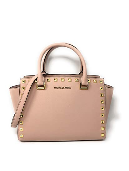 caca8c6559c3 Michael Kors Selma Stud Medium Top Zip Leather Satchel Bag in Ballet  Amazon .co.uk  Clothing