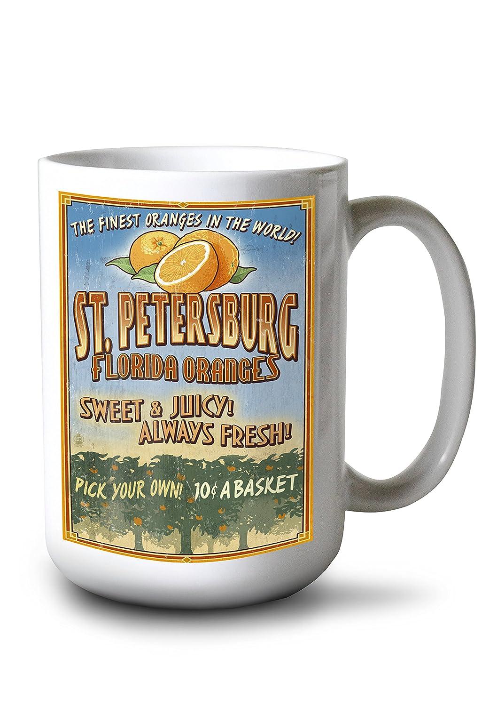 サンクトペテルブルク、フロリダ州 – オレンジGrove Vintage Sign 15oz Mug LANT-3P-15OZ-WHT-44351 15oz Mug  B077RYW1CH