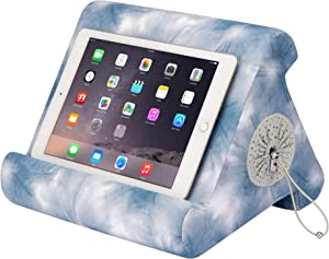 Flippy with New Storage Cubby Multi-Angle Soft Pillow Lap Stand for iPads, Tablets, eReaders, Smartphones, Books, Magazines (Midori's Shibori)