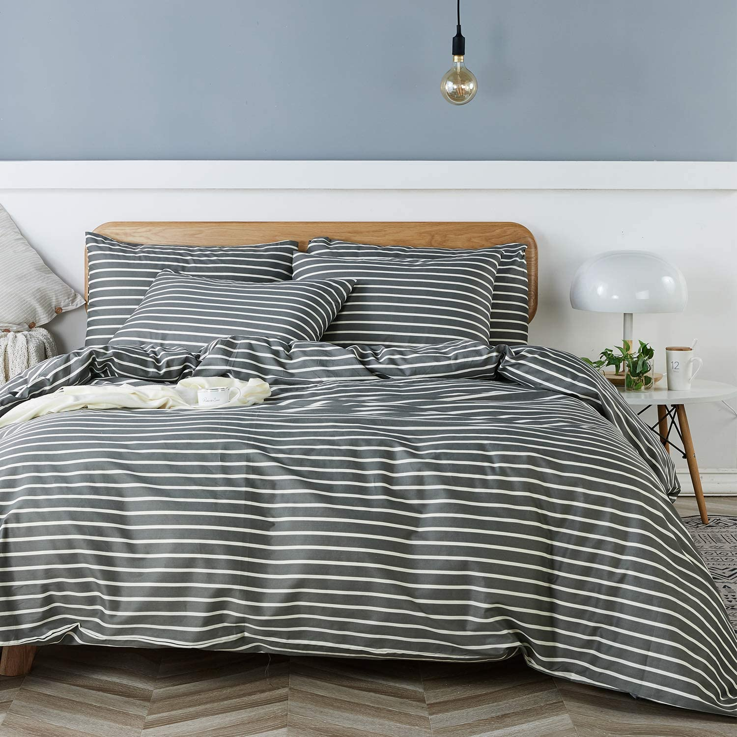JELLYMONI 100% Natural Cotton 3pcs Striped Duvet Cover Sets, Dark Grey Duvet Cover with White Stripes Pattern Printed Comforter Cover, with Zipper Closure & Corner Ties(King Size)