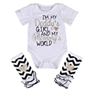3 Styles Newborn Baby Girl I'm Daddy Girl Letter Print Bodysuit+Leg Warmer Outfits Set, White+black, 80 (0-3M)