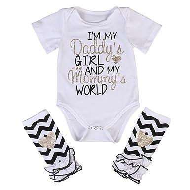 Amazon Com 3 Styles Newborn Baby Girl I M Daddy Girl Letter Print