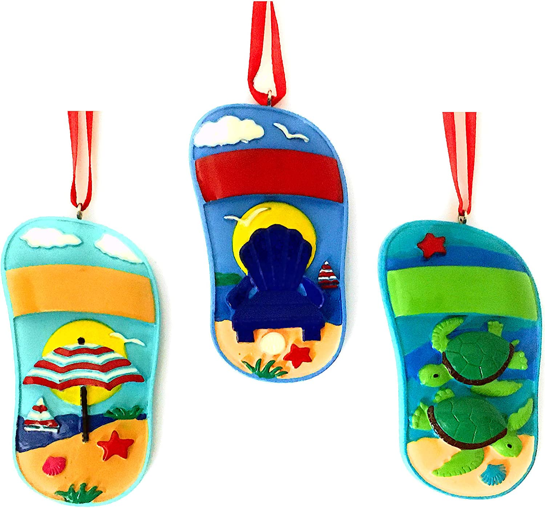 Beach Chair Flip Flop Coastal Christmas Tree Ornaments - Set of 3