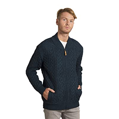 Aran Crafts Men's Irish Soft Cable Knitted Zipped Cardigan (100% Merino Wool) at Men's Clothing store