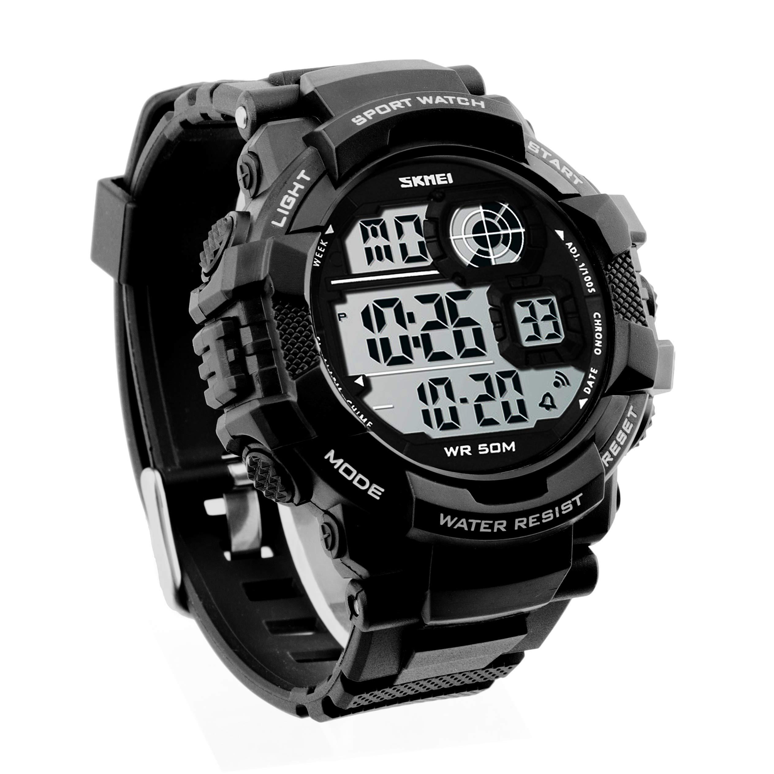 JOYSAE Men's Sport Wrist Watches, Waterproof Digital Wrist Watch with Calendar Stopwatch Alarm- Color Black
