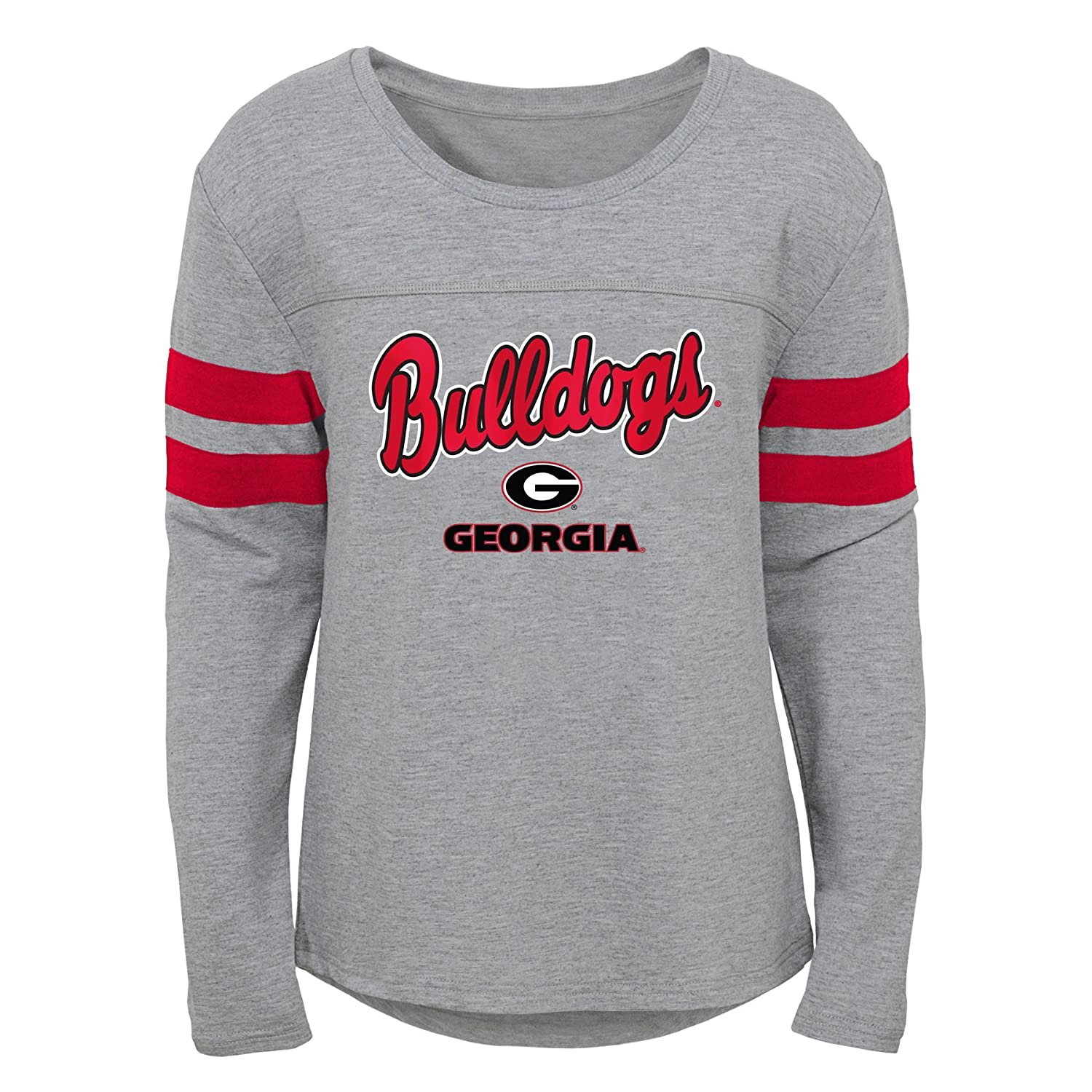 7-8 Youth Girls Small Heather Grey Outerstuff NCAA Georgia Bulldogs Youth Girls Field Armor Dolman Sleeve Top