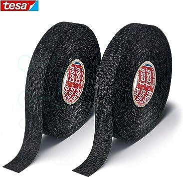 2 pcs Tesa 51608 Black Fuzzy Fleece Interior Wire Loom Harness Tap 19mm X 15M