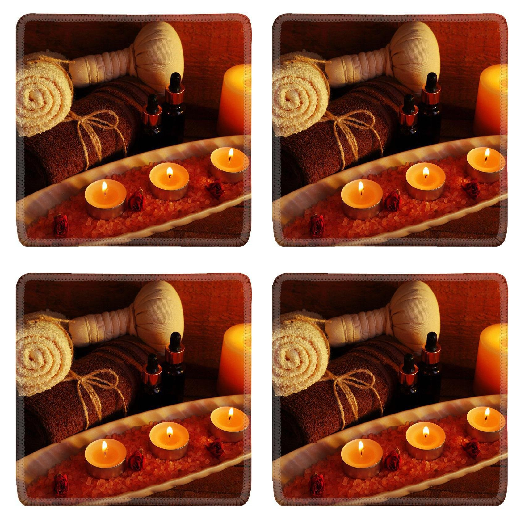 MSD Square Coasters Non-Slip Natural Rubber Desk Coasters design 34100938 Composition with spa treatment on wooden background