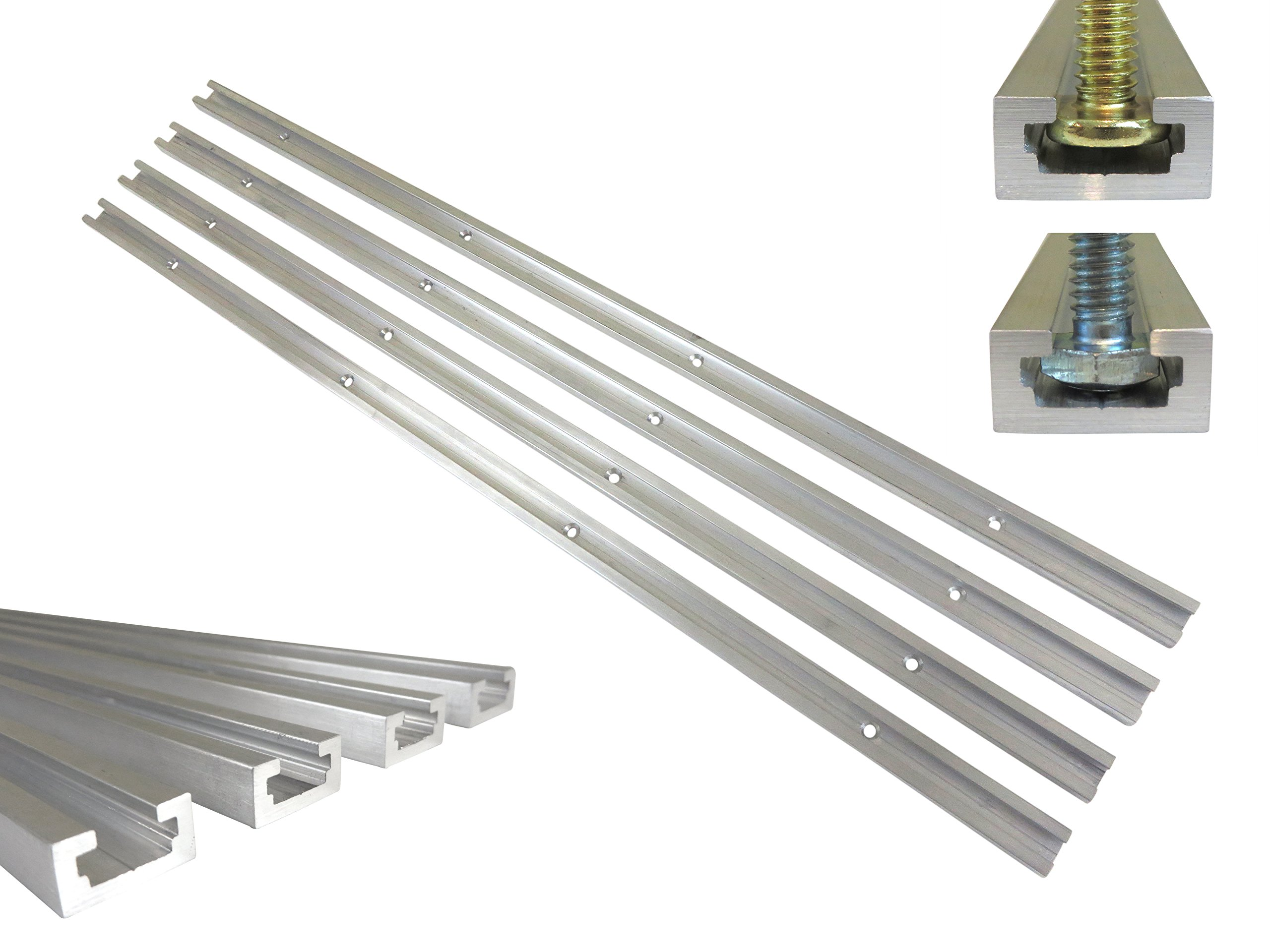 Lot 4 Each, 48'' Aluminum T Track 3/4'' by 3/8'' Slot, Accepts 1/4'' Hex Bolts, 1/4'' or 5/16'' T Bolts, Countersunk Holes Every 6'' 112134