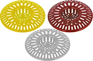 Shower Hair Trap Plastic Basket 3 inches - Pack of 3 - Kitchen Sink Drain Cover - Bathroom Screen Catcher - Strainer for Tub - Strainers for Bath
