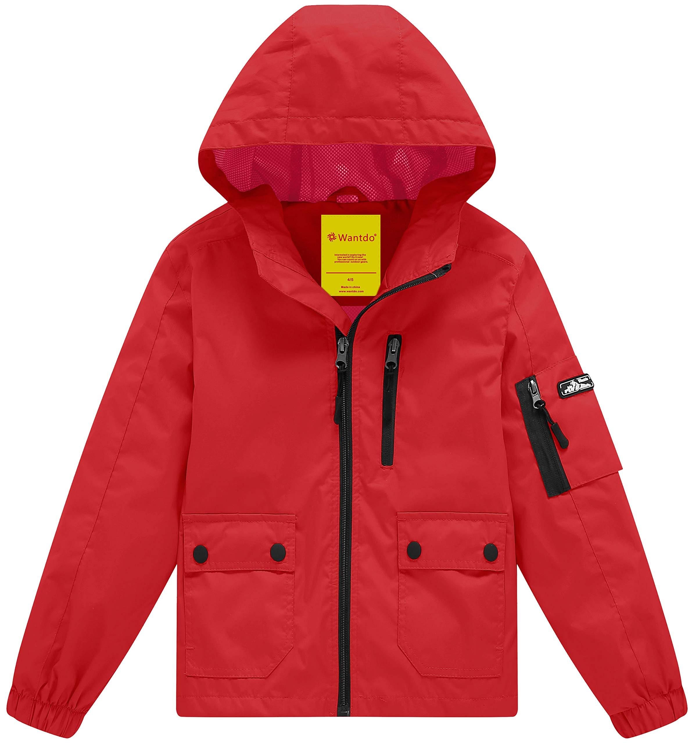 Wantdo Boy's Lightweight Hooded Rain Jacket Waterproof Outwear with Zipper Raincoat(Red, 8)