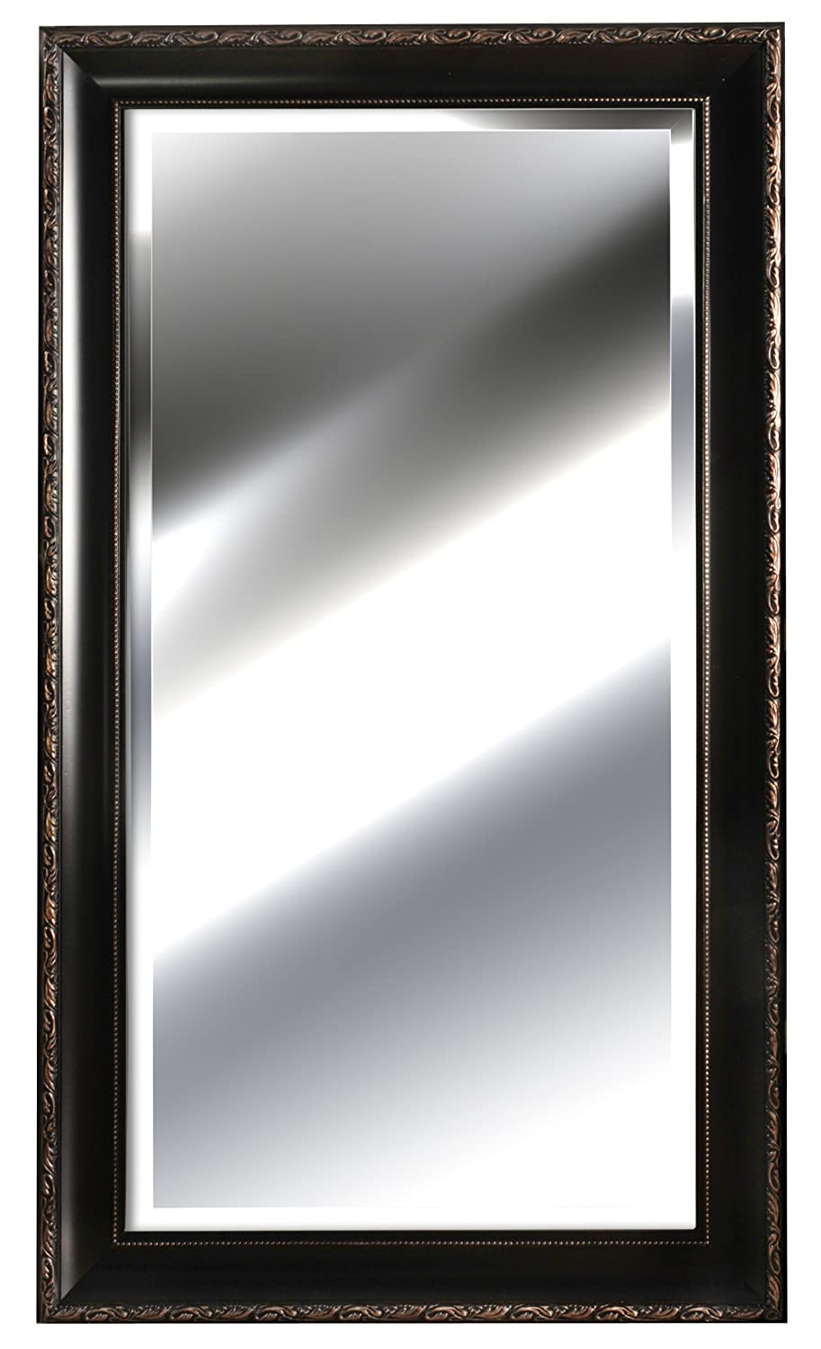 Gallery Solutions Deep Rosewood Beveled Mirror with Inner Gold Beading, 24 by 48-Inch 13FP2452A