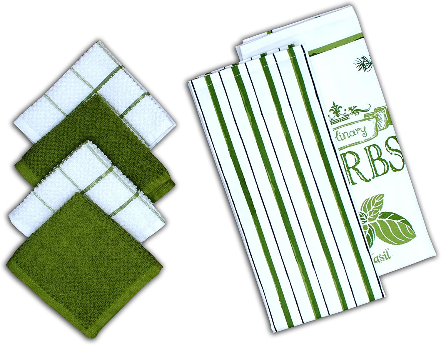 """AMOUR INFINI Herb Garden 6 Pack Kitchen Set   2 Decorative Kitchen Towels (28"""" x 18"""") and 4 Terry Dishcloths (12"""" x 12"""")   100% Cotton Machine Washable   Super-Soft and Ultra Absorbent   Green"""
