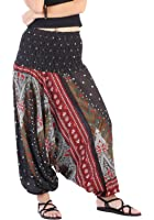 CandyHusky Women Gypsy Hippie Boho Baggy Loose fit Elastic Jumpsuit Harem Pants
