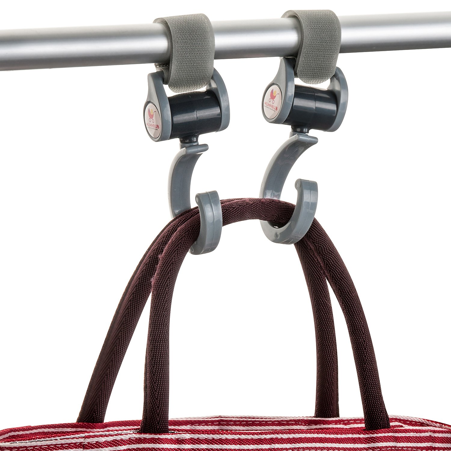 MumnBub Stroller Hook - 2 Pack (Grey) Multi-Purpose Heavy Duty Buggy Clips for Mommy - Universal Fit Perfect Pram Accessories for Hanging Diaper bag, Shopping bag, Groceries -Includes 2 Stroller Pegs by MumnBub (Image #5)