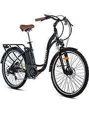 """Moma Bikes Eléctrica Paseo Shimano, Ruedas de 26"""", Aluminio, Batería Ion-Litio 36v 16ah Bicicleta, Unisex Adulto"""