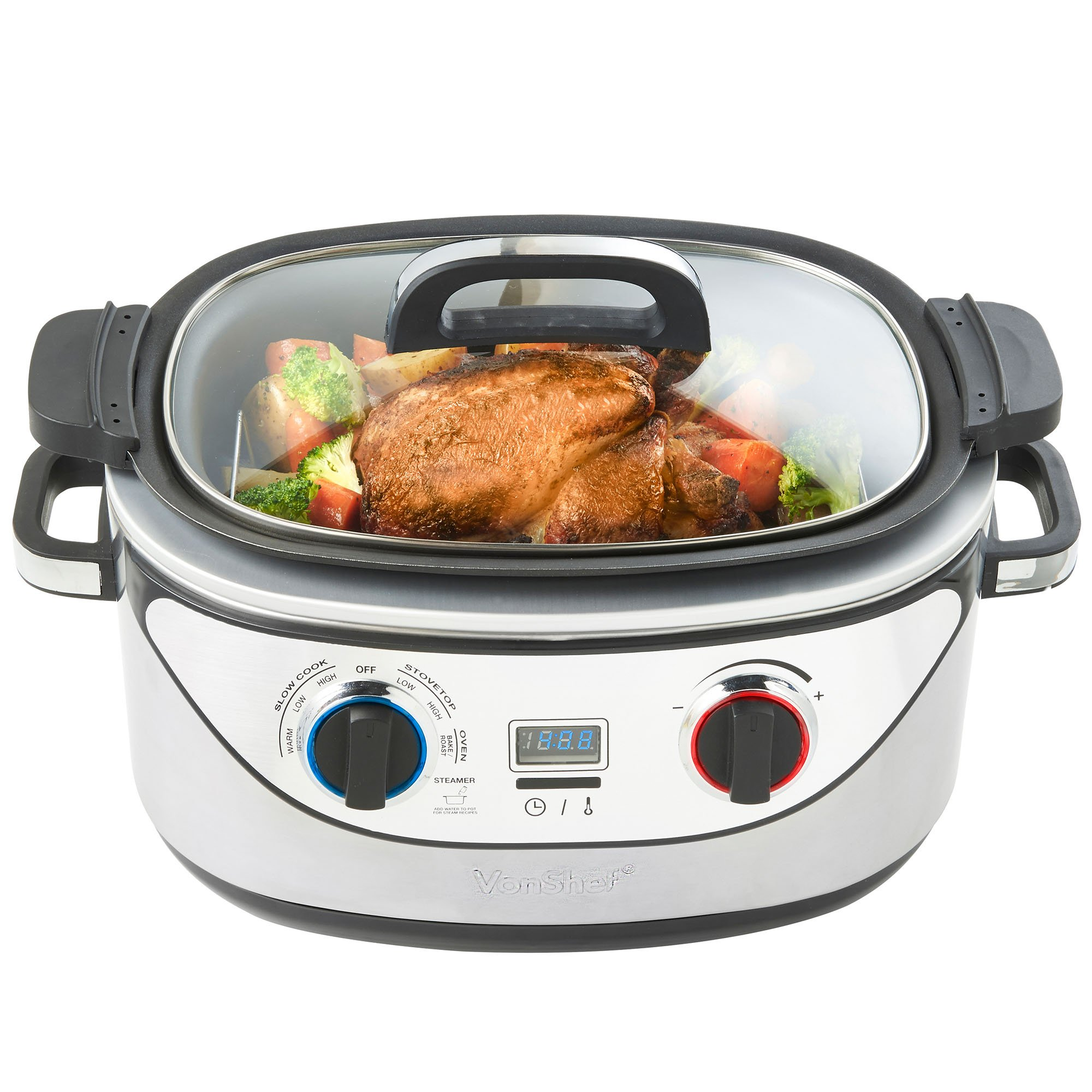 VonShef 8 in 1 Multi Cooker 5-Quart Stainless Steel - Slow Cook, Simmer, Sear, Roast, Bake, Steam & Warm